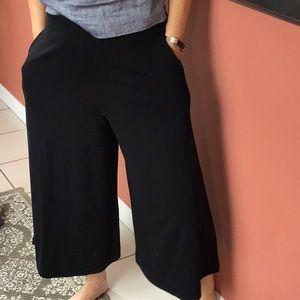 Black flared crop pants